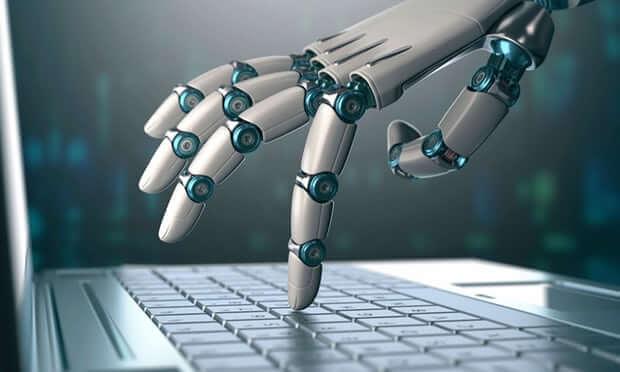 Robot Finger Touching a Laptop