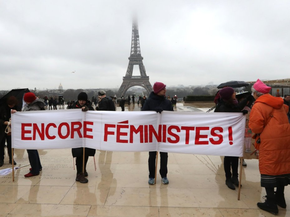 Demonstrators at France's Women's March 2018