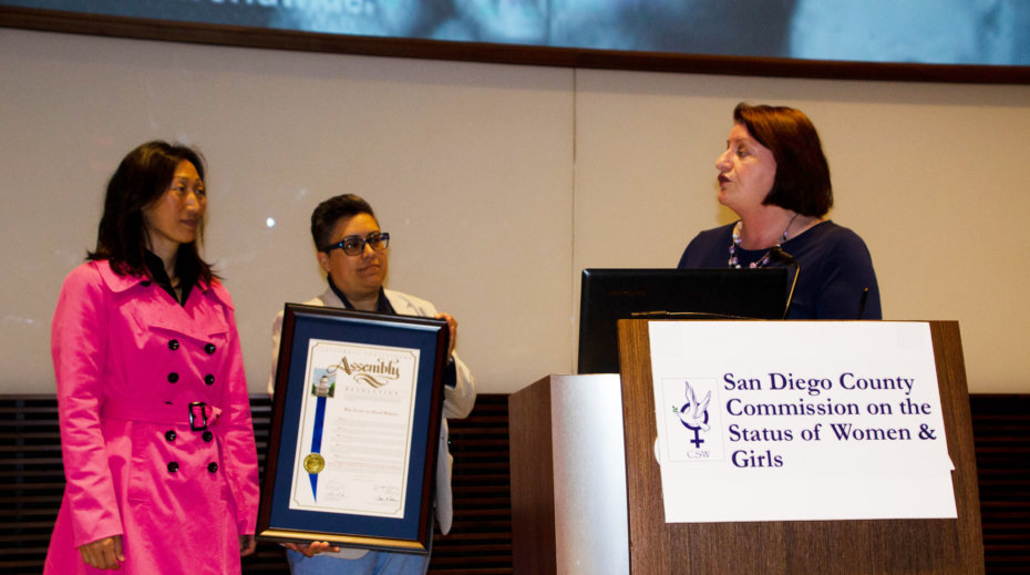 Toni Atkins Presenting C.A. State Resolution to Hei-ock Kim