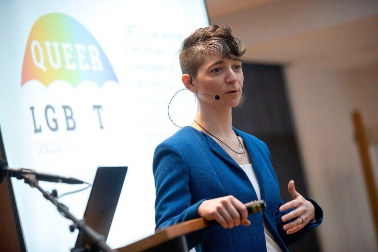 Stephanie Huckel Talking at an Event