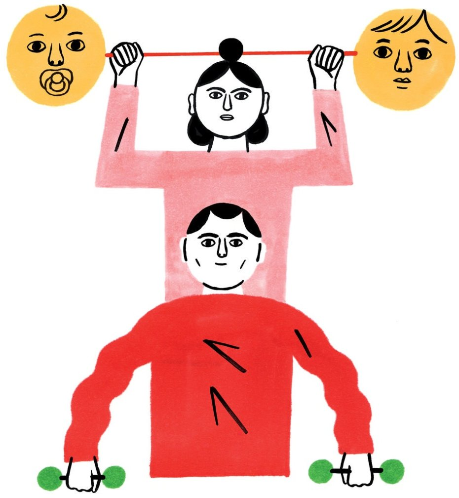 Illustration of a Woman Holding a Barbell with a Baby's Face, and a Man holding Dumbbells Beneath