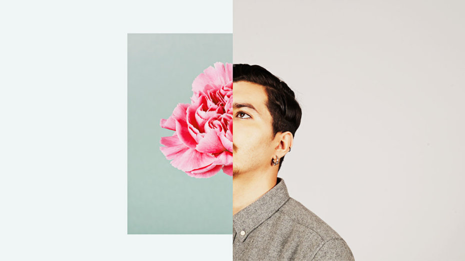 Split Image of a Flower and the Portrait of a Man