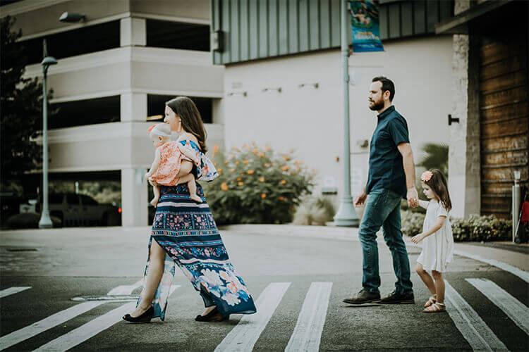 Family Walking Across a Street