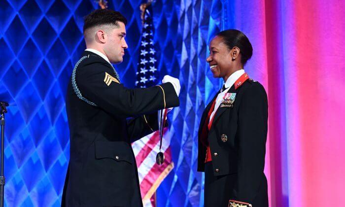 Lorna Mahlock Receiving A Medal