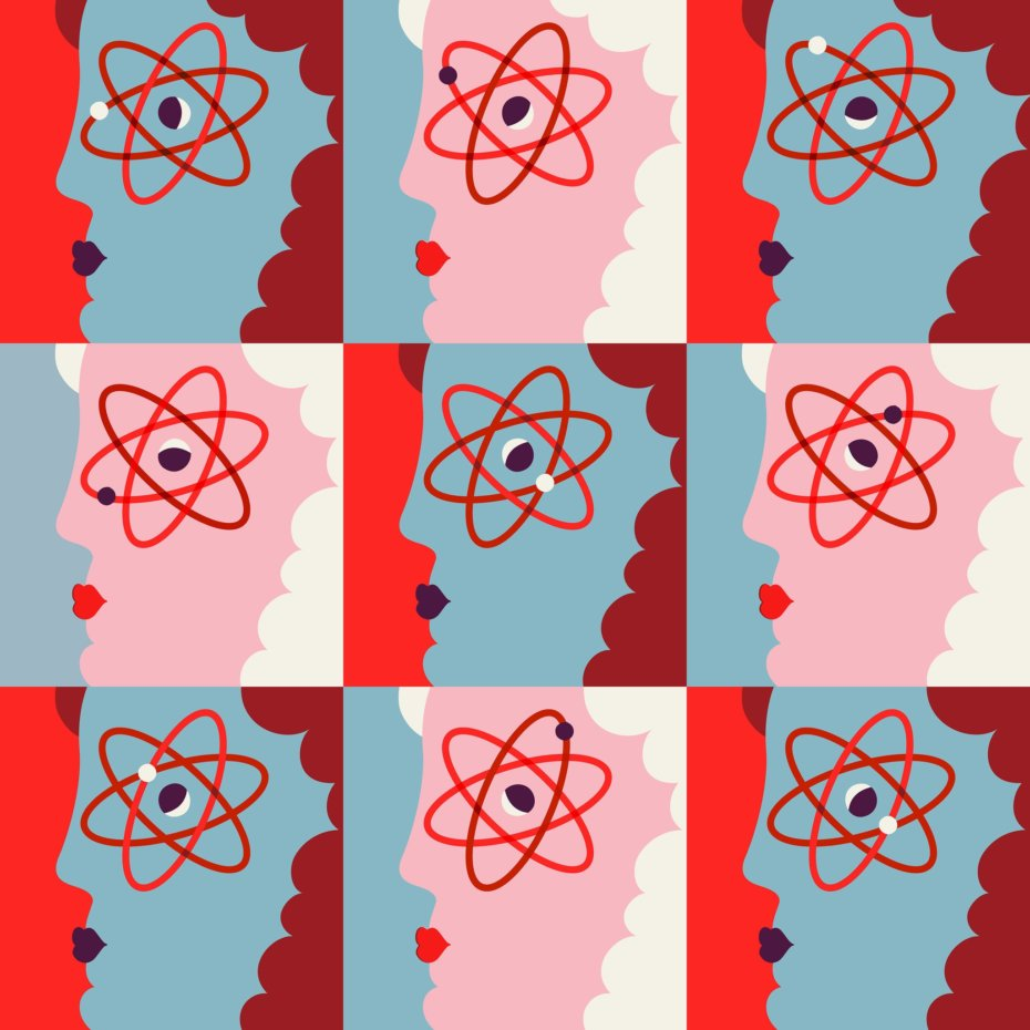 Pop Art of.a woman with an Atom for an Eye
