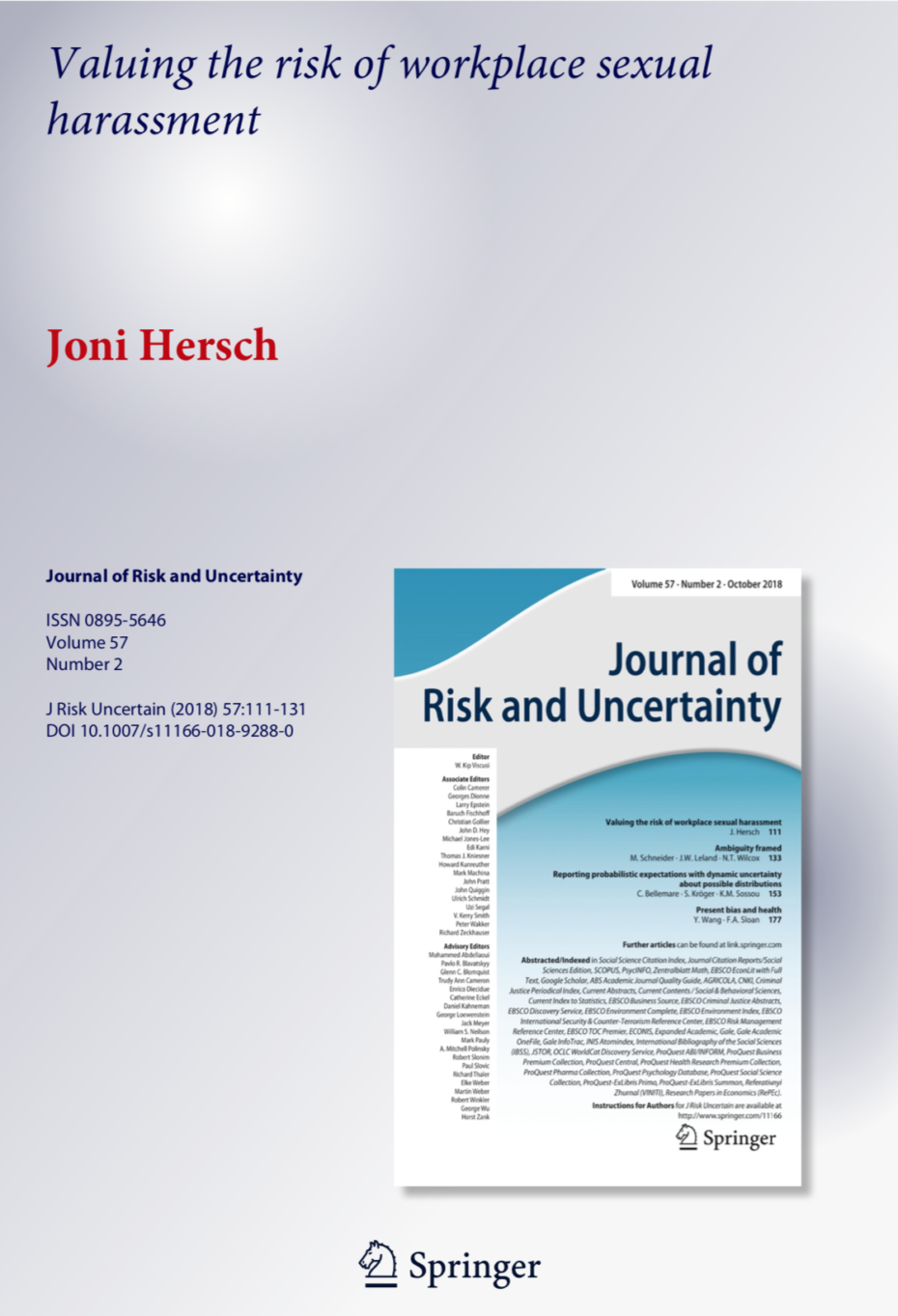 Valuing the Risk of Workplace Sexual Harassment Cover