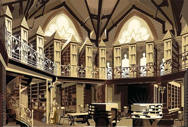 Vector Drawing of a Library