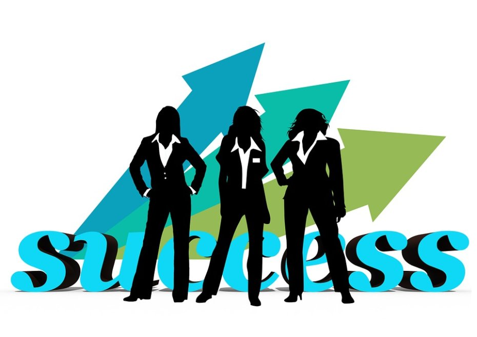 """Silhouette of Three Women in Front of """"Success"""" Text"""