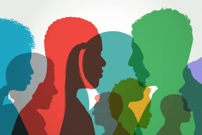Silhouette of Different Colored People