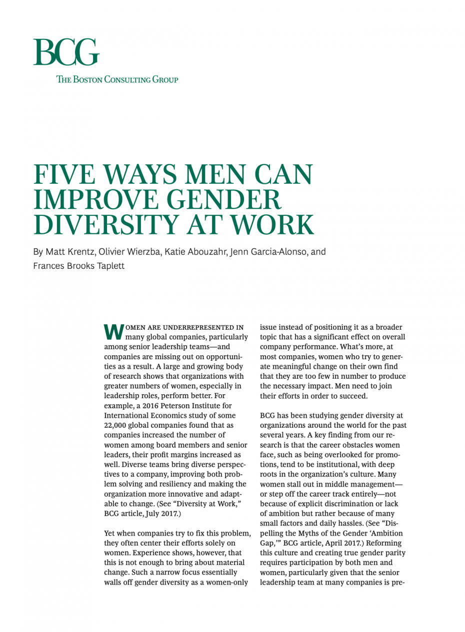 Five Ways Men Can Improve Gender Diversity At Work First Page
